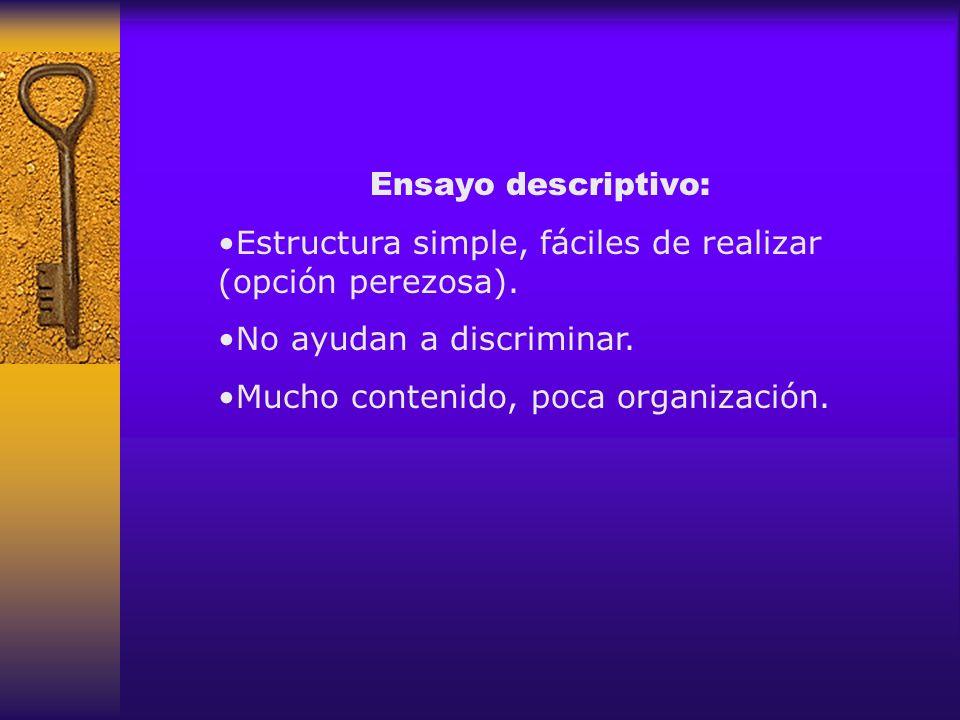 Ensayo descriptivo: Estructura simple, fáciles de realizar (opción perezosa). No ayudan a discriminar.