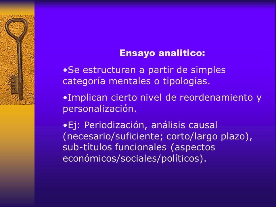 Ensayo analitico: Se estructuran a partir de simples categoría mentales o tipologías. Implican cierto nivel de reordenamiento y personalización.