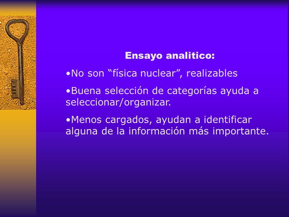 Ensayo analitico: No son física nuclear , realizables. Buena selección de categorías ayuda a seleccionar/organizar.