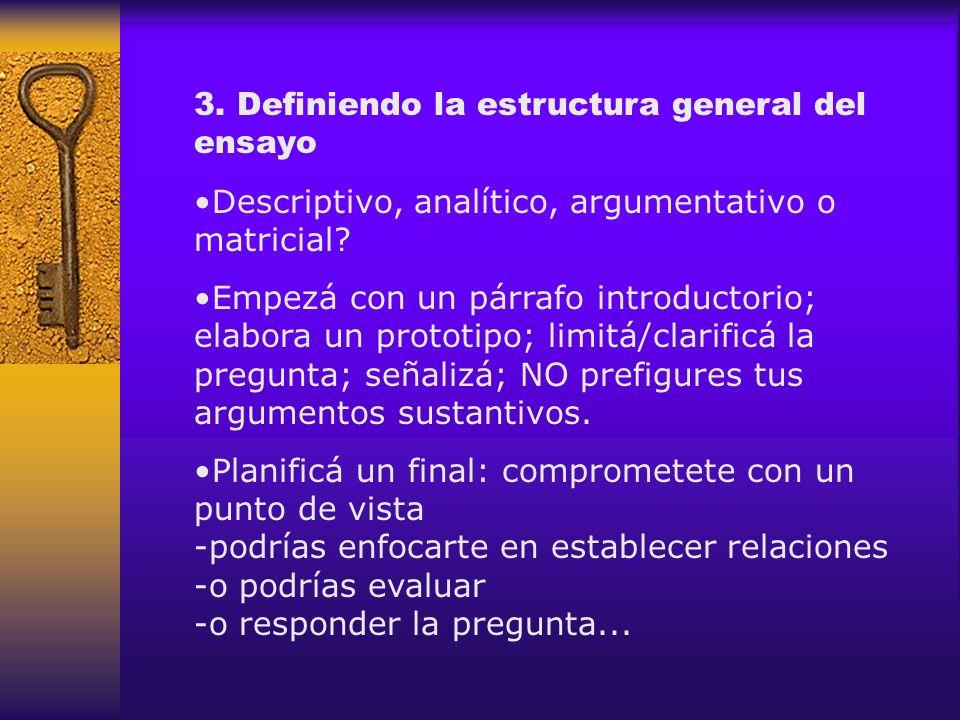 3. Definiendo la estructura general del ensayo