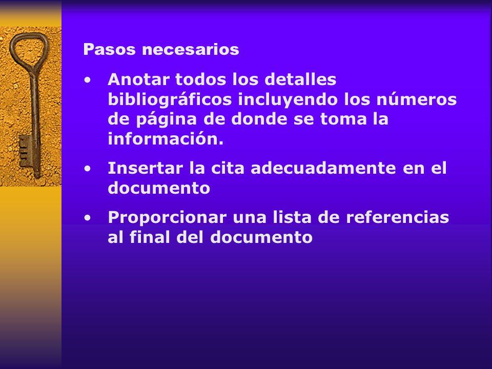 Pasos necesarios Anotar todos los detalles bibliográficos incluyendo los números de página de donde se toma la información.