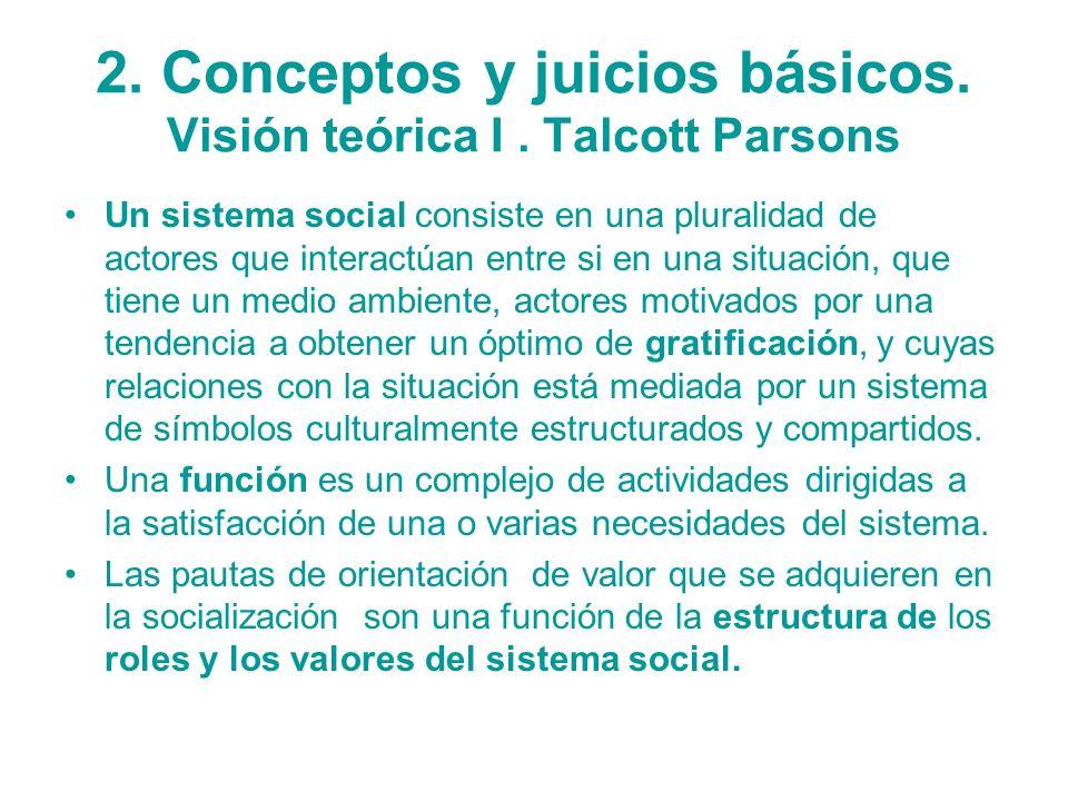 2. Conceptos y juicios básicos. Visión teórica I . Talcott Parsons