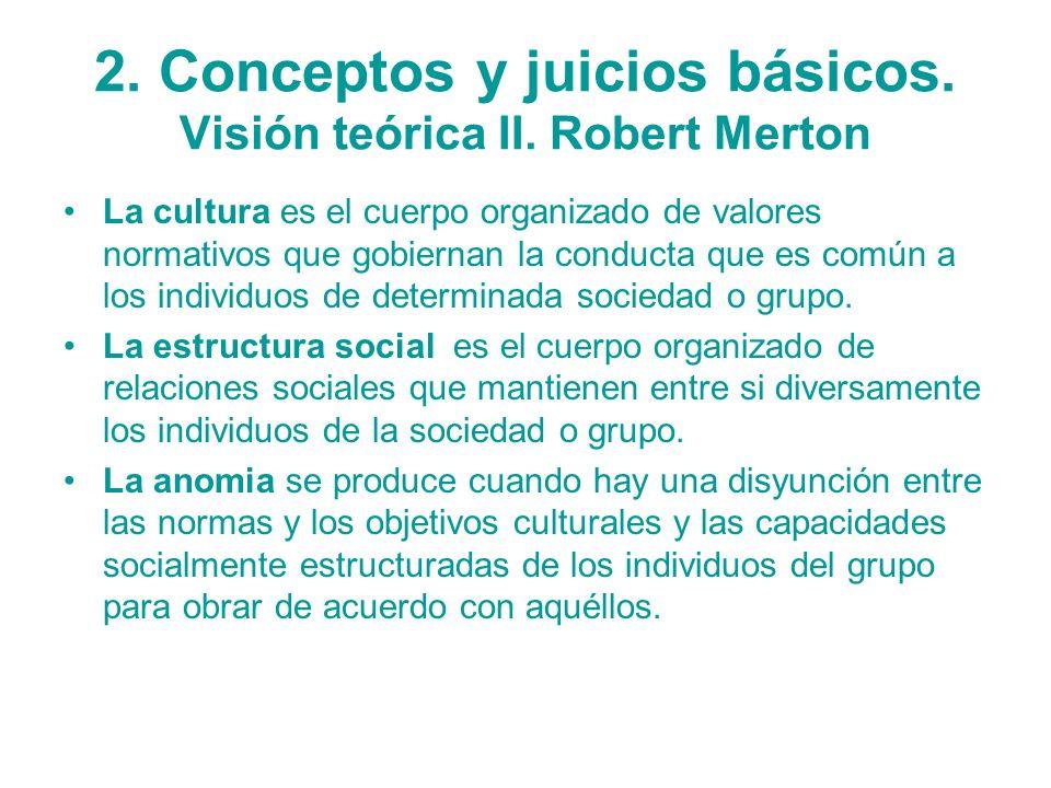 2. Conceptos y juicios básicos. Visión teórica II. Robert Merton
