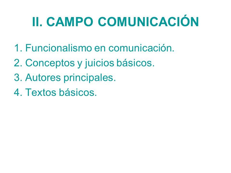 II. CAMPO COMUNICACIÓN 1. Funcionalismo en comunicación.