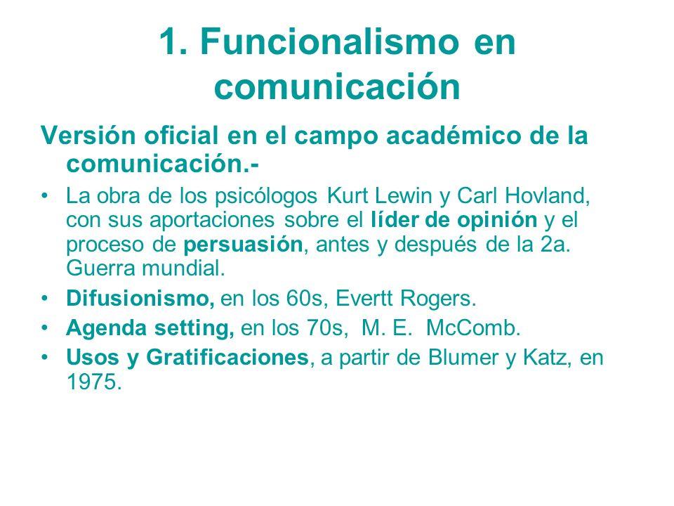 1. Funcionalismo en comunicación