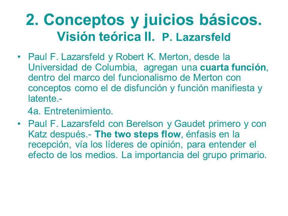 2. Conceptos y juicios básicos. Visión teórica II. P. Lazarsfeld