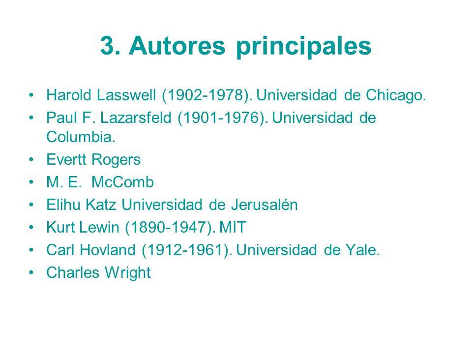 3. Autores principalesHarold Lasswell (1902-1978). Universidad de Chicago. Paul F. Lazarsfeld (1901-1976). Universidad de Columbia.