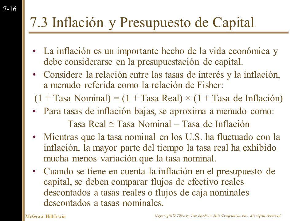7.3 Inflación y Presupuesto de Capital