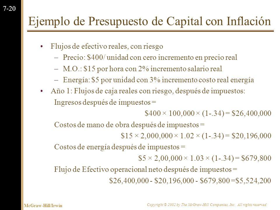 Ejemplo de Presupuesto de Capital con Inflación