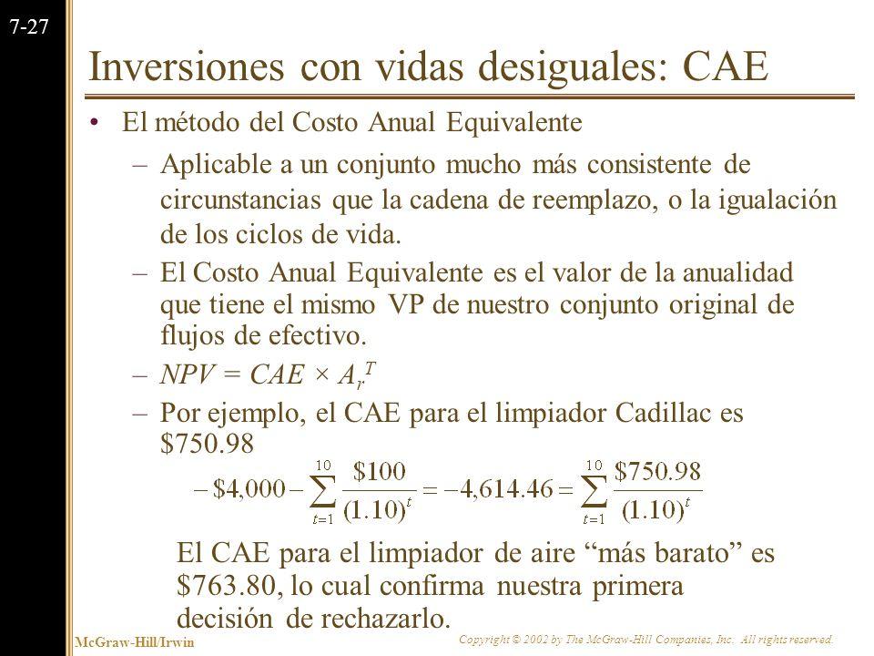 Inversiones con vidas desiguales: CAE