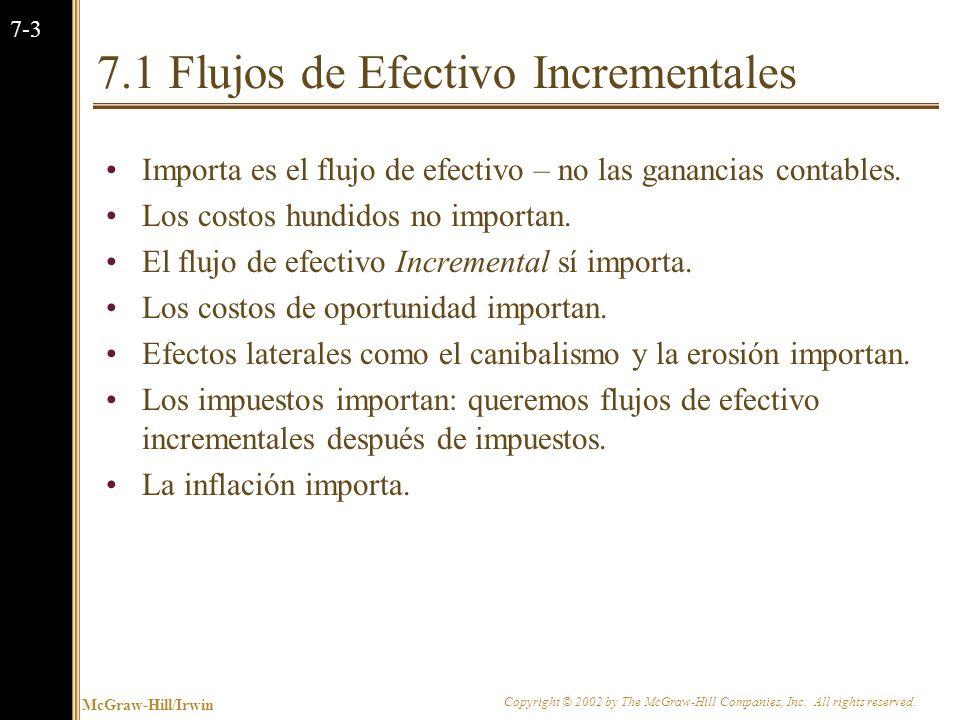 7.1 Flujos de Efectivo Incrementales