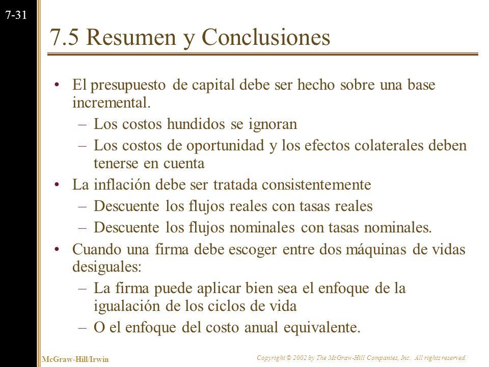 7.5 Resumen y Conclusiones