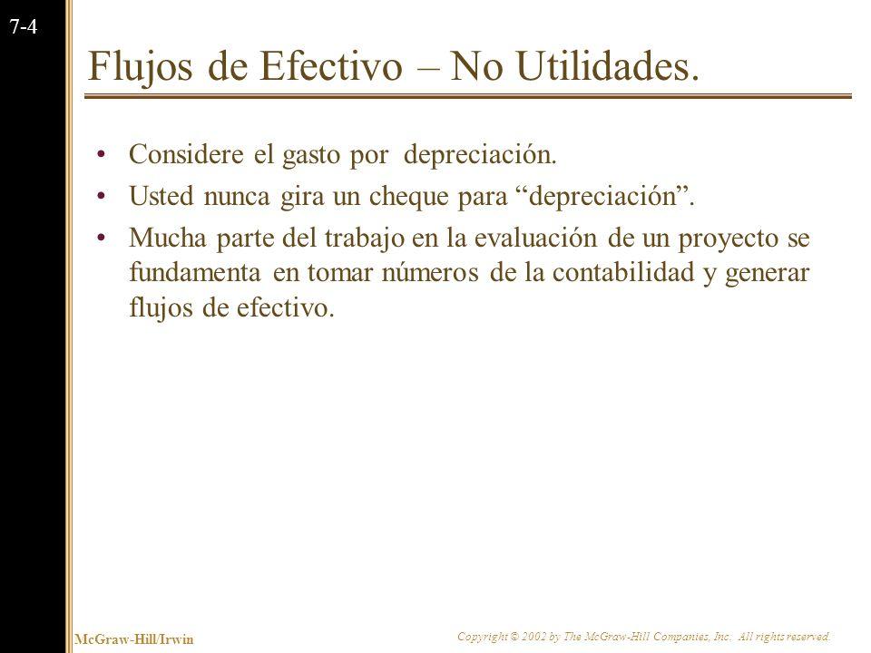 Flujos de Efectivo – No Utilidades.