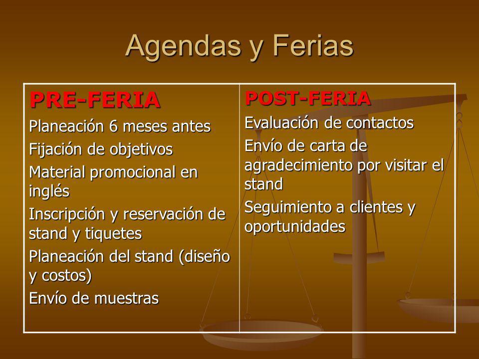 Agendas y Ferias PRE-FERIA POST-FERIA Evaluación de contactos