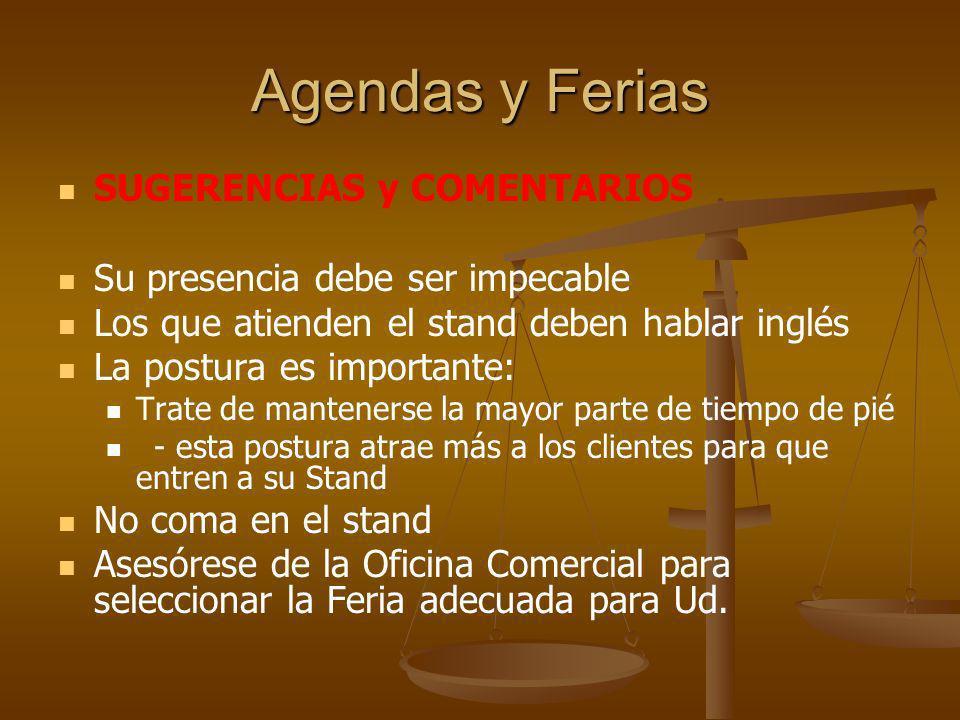 Agendas y Ferias SUGERENCIAS y COMENTARIOS