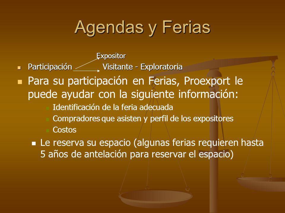 Agendas y Ferias Expositor. Participación Visitante - Exploratoria.