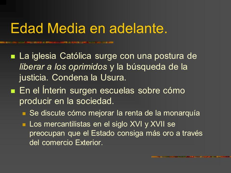 Edad Media en adelante. La iglesia Católica surge con una postura de liberar a los oprimidos y la búsqueda de la justicia. Condena la Usura.