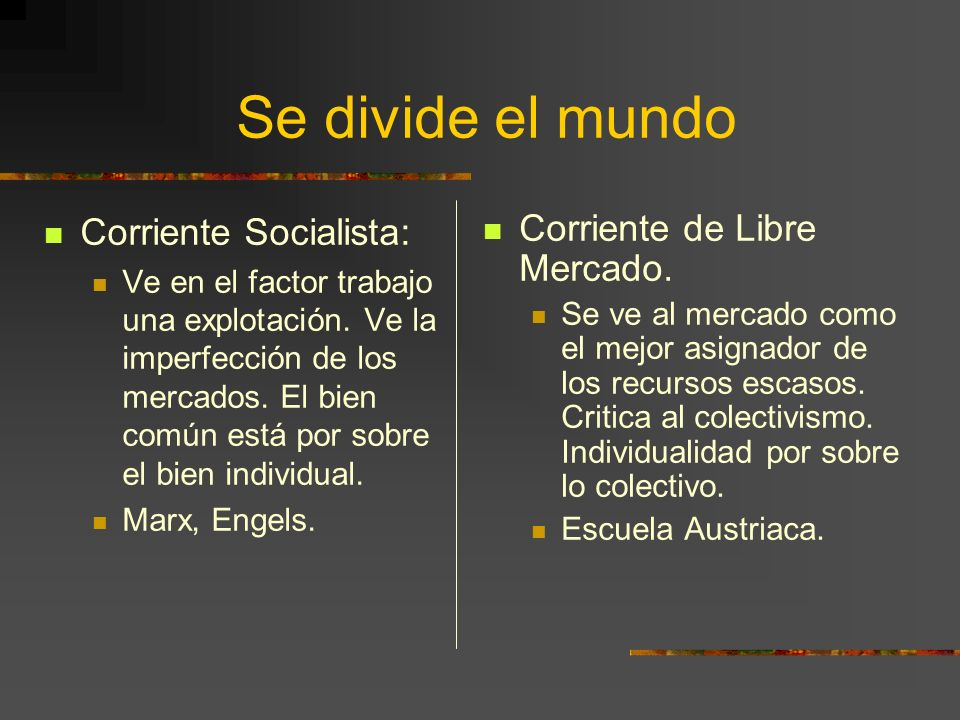 Se divide el mundo Corriente Socialista: Corriente de Libre Mercado.
