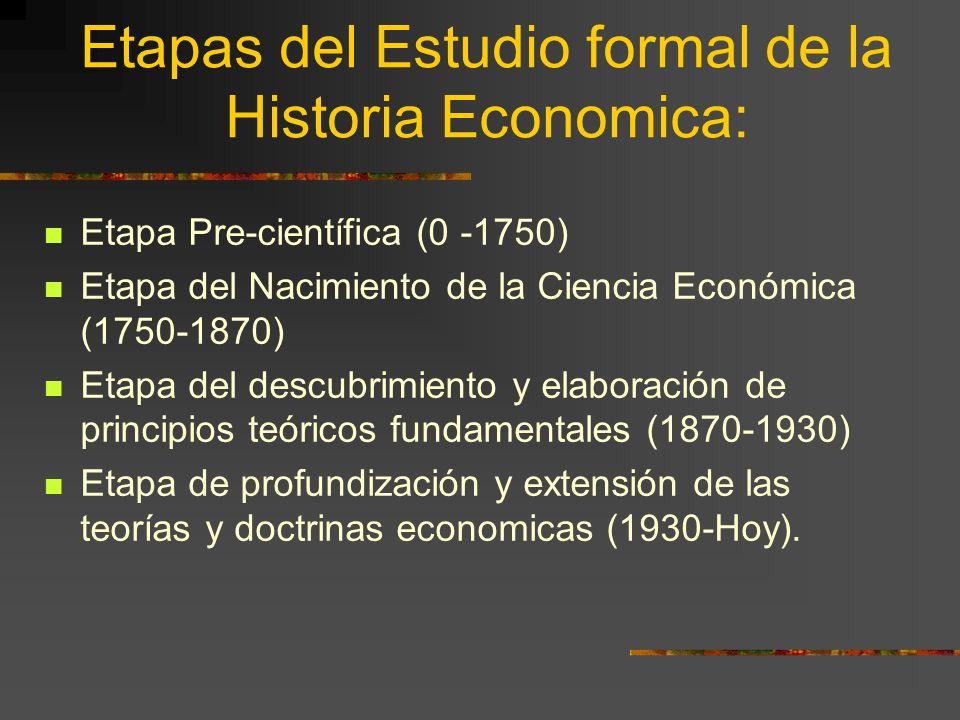 Etapas del Estudio formal de la Historia Economica: