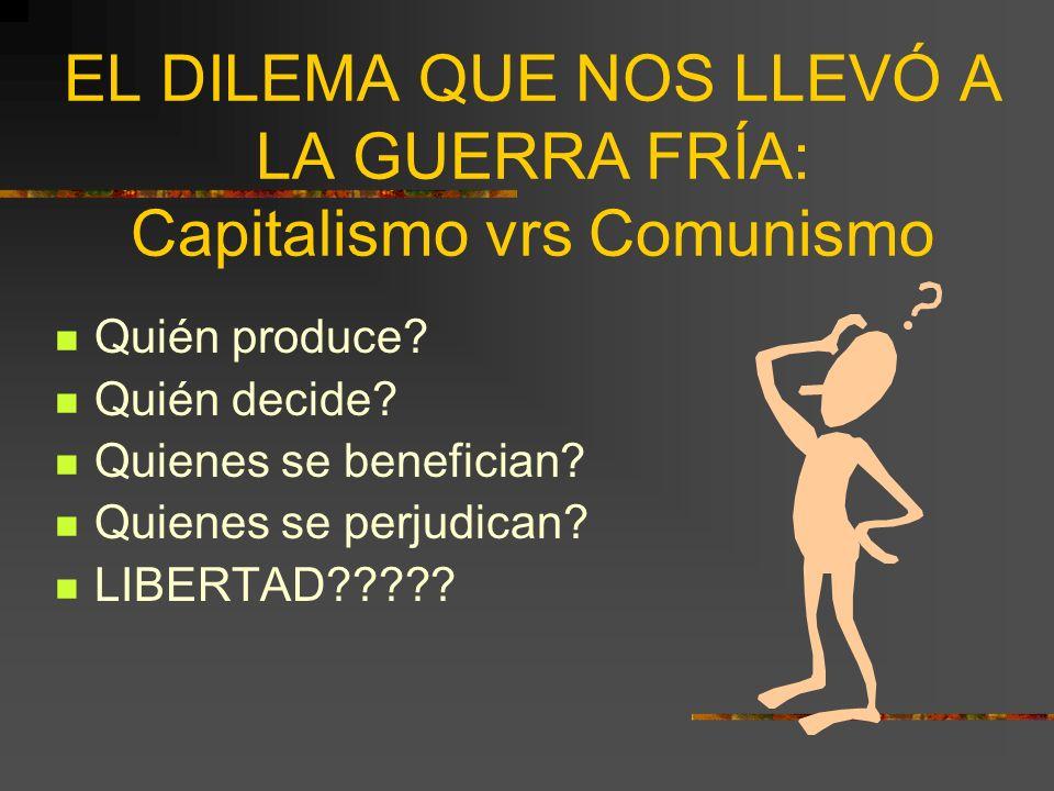 EL DILEMA QUE NOS LLEVÓ A LA GUERRA FRÍA: Capitalismo vrs Comunismo