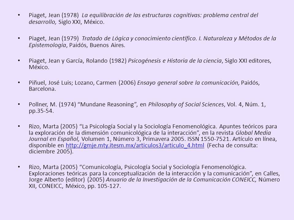 Piaget, Jean (1978) La equilibración de las estructuras cognitivas: problema central del desarrollo, Siglo XXI, México.