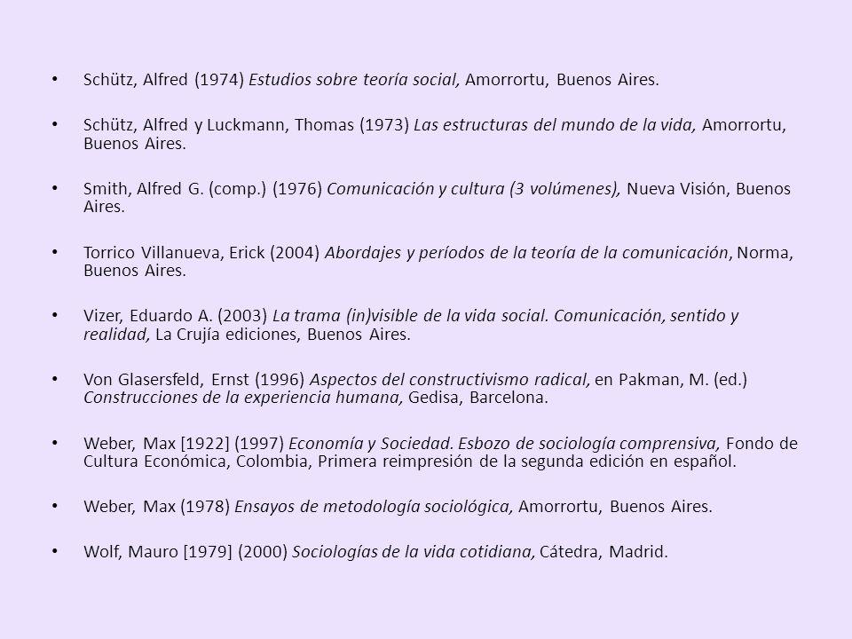 Schütz, Alfred (1974) Estudios sobre teoría social, Amorrortu, Buenos Aires.