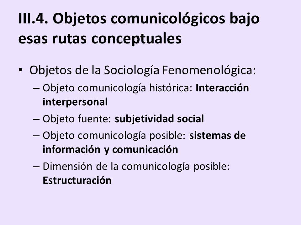 III.4. Objetos comunicológicos bajo esas rutas conceptuales