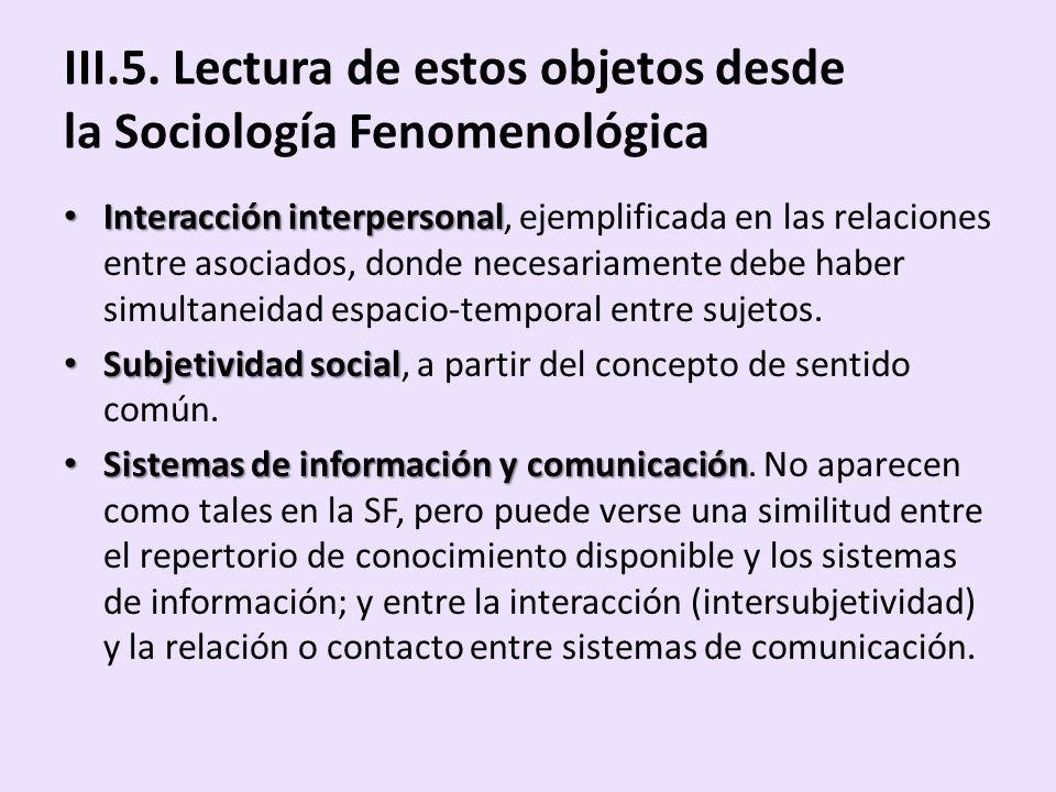 III.5. Lectura de estos objetos desde la Sociología Fenomenológica