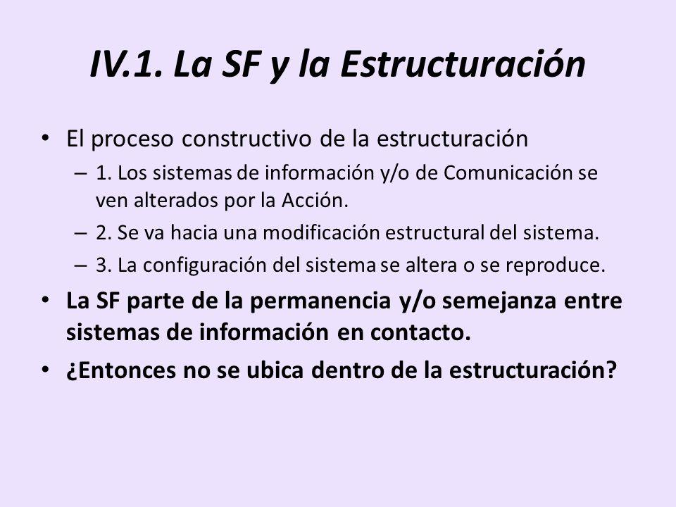 IV.1. La SF y la Estructuración