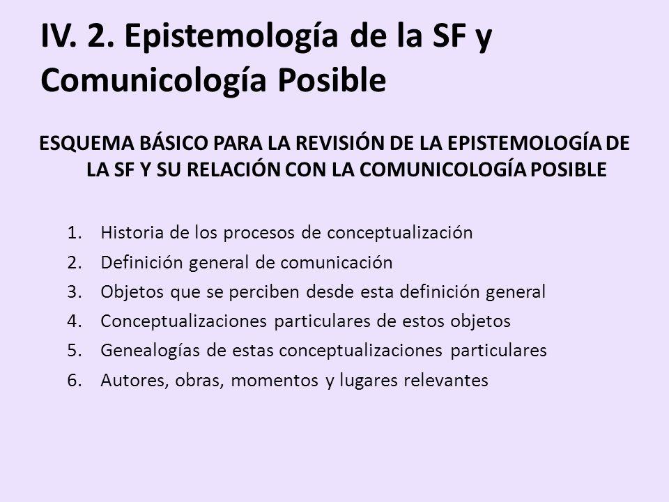 IV. 2. Epistemología de la SF y Comunicología Posible