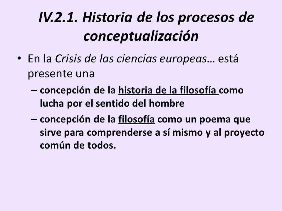 IV.2.1. Historia de los procesos de conceptualización