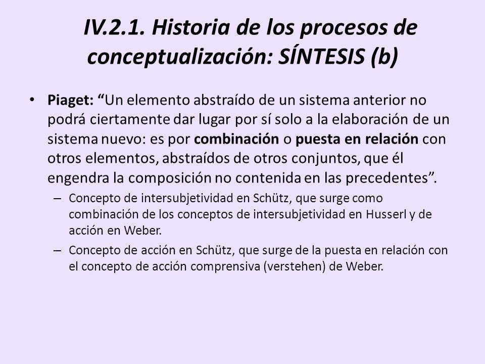 IV.2.1. Historia de los procesos de conceptualización: SÍNTESIS (b)