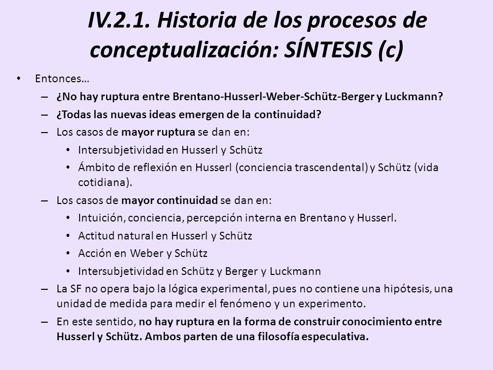 IV.2.1. Historia de los procesos de conceptualización: SÍNTESIS (c)