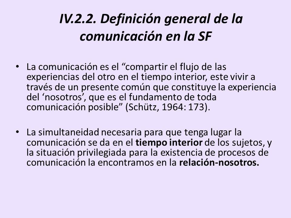 IV.2.2. Definición general de la comunicación en la SF