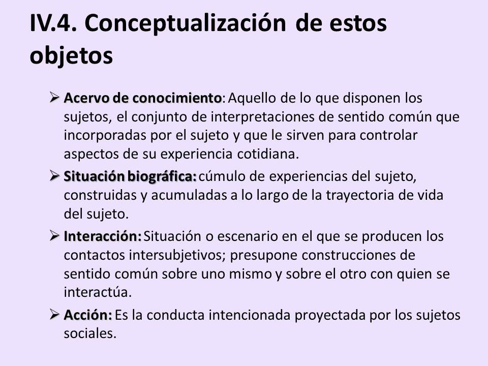 IV.4. Conceptualización de estos objetos
