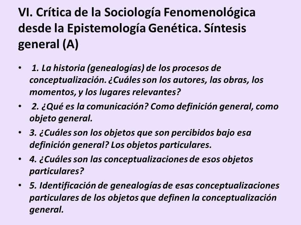 VI. Crítica de la Sociología Fenomenológica desde la Epistemología Genética. Síntesis general (A)