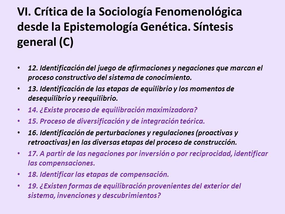 VI. Crítica de la Sociología Fenomenológica desde la Epistemología Genética. Síntesis general (C)