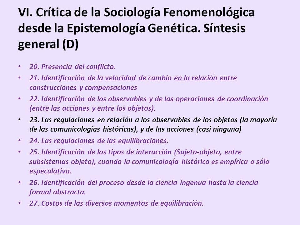 VI. Crítica de la Sociología Fenomenológica desde la Epistemología Genética. Síntesis general (D)