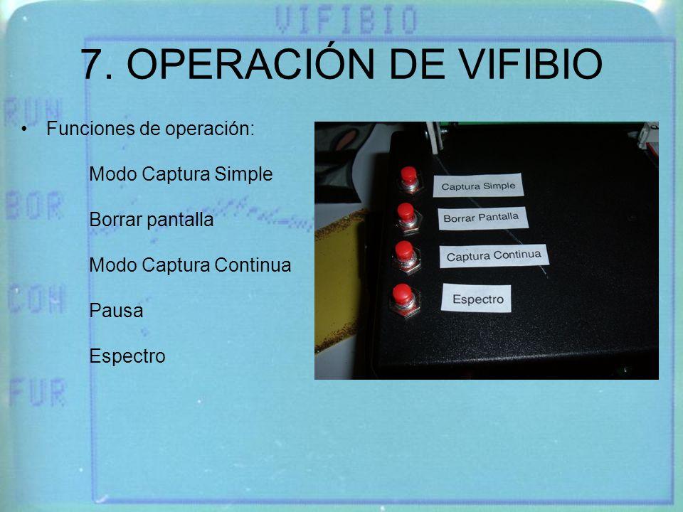 7. OPERACIÓN DE VIFIBIO Funciones de operación: Modo Captura Simple
