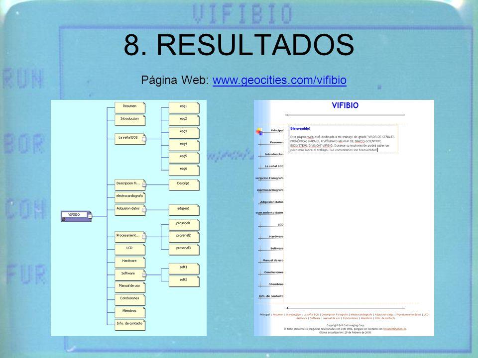 8. RESULTADOS Página Web: www.geocities.com/vifibio