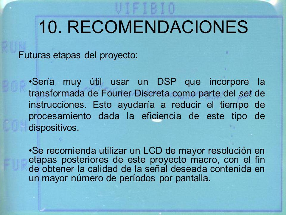 10. RECOMENDACIONES Futuras etapas del proyecto: