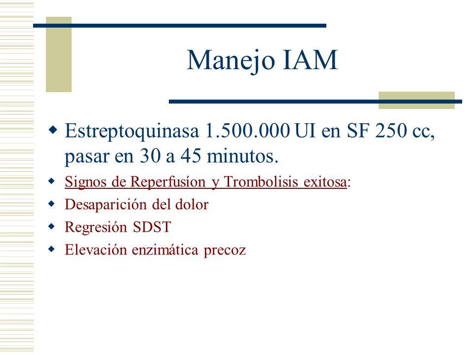 Manejo IAM Estreptoquinasa 1.500.000 UI en SF 250 cc, pasar en 30 a 45 minutos. Signos de Reperfusíon y Trombolisis exitosa: