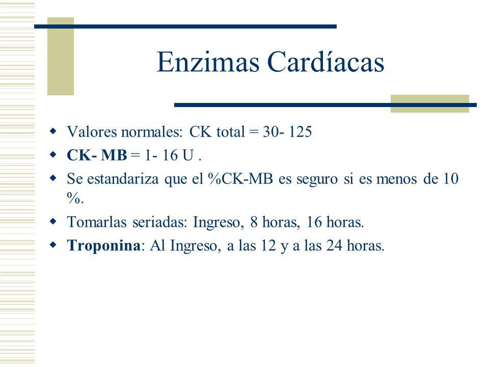Enzimas Cardíacas Valores normales: CK total = 30- 125