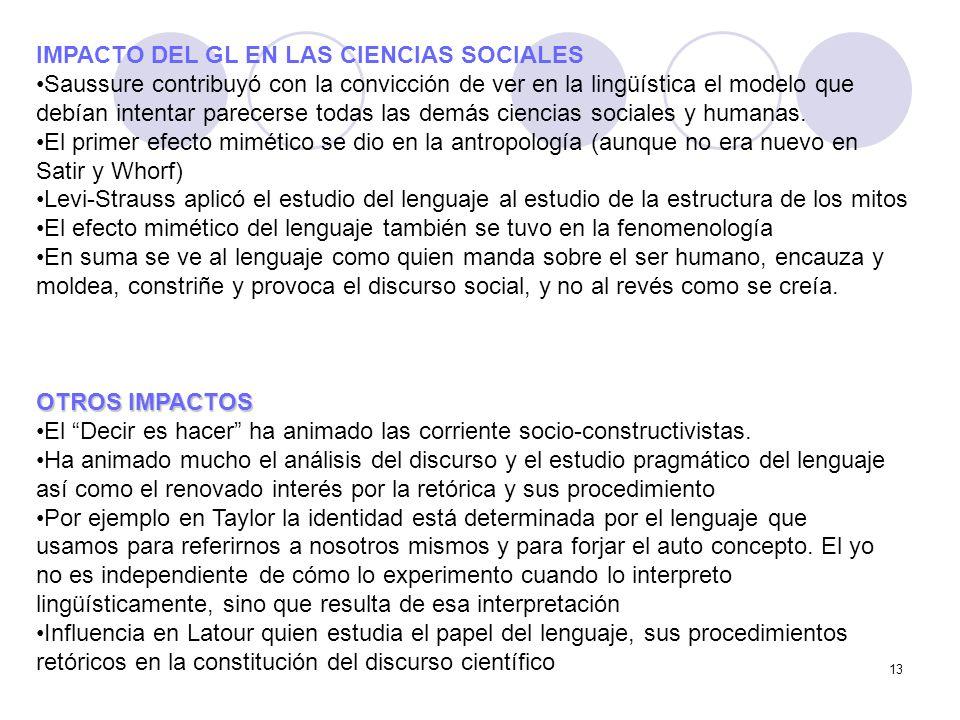IMPACTO DEL GL EN LAS CIENCIAS SOCIALES