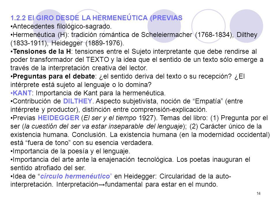 1.2.2 El GIRO DESDE LA HERMENEÚTICA (PREVIAS