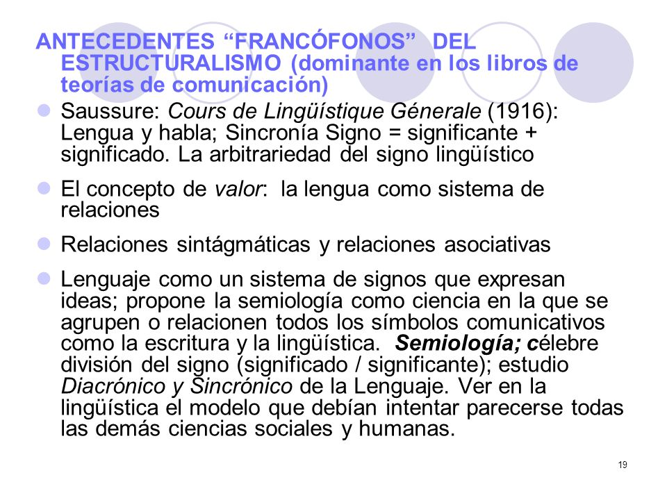 ANTECEDENTES FRANCÓFONOS DEL ESTRUCTURALISMO (dominante en los libros de teorías de comunicación)