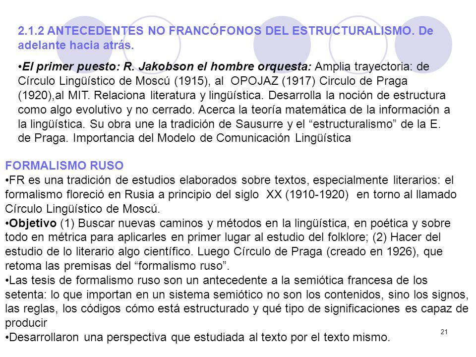 2. 1. 2 ANTECEDENTES NO FRANCÓFONOS DEL ESTRUCTURALISMO