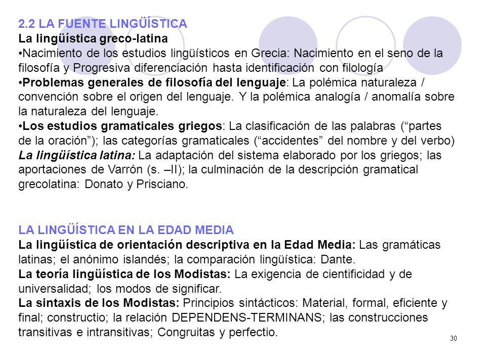 2.2 LA FUENTE LINGÜÍSTICALa lingüística greco-latina.