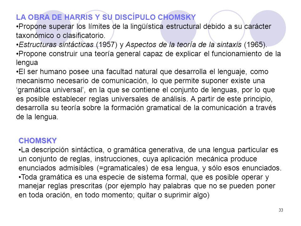 LA OBRA DE HARRIS Y SU DISCÍPULO CHOMSKY