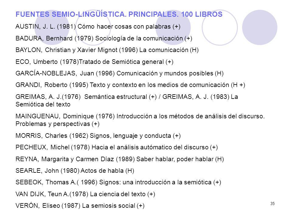 FUENTES SEMIO-LINGÜÍSTICA. PRINCIPALES. 100 LIBROS
